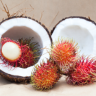 Coconut Split in Half with Rambutan Fruit